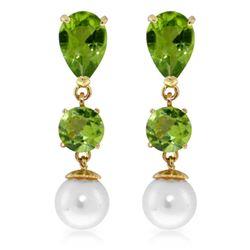 Genuine 10.50 ctw Peridot & Pearl Earrings Jewelry 14KT Yellow Gold - REF-40P9H