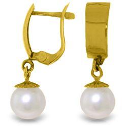 Genuine 4 ctw Pearl Earrings Jewelry 14KT Yellow Gold - REF-21W2Y