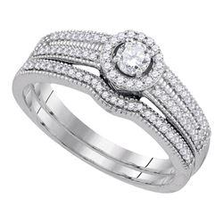 0.38 CTW Diamond Bridal Wedding Engagement Ring 10KT White Gold - REF-52N4F