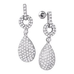 2 CTW Diamond Teardrop Dangle Earrings 10KT White Gold - REF-134Y9X