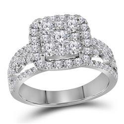 1.48 CTW Diamond Cluster Bridal Engagement Ring 14KT White Gold - REF-149F9N