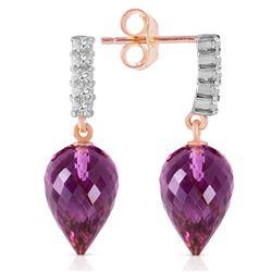 Genuine 19.15 ctw Amethyst & Diamond Earrings Jewelry 14KT Rose Gold - REF-47W4Y