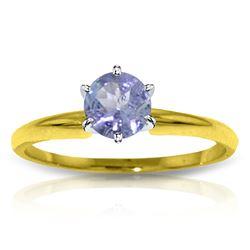 Genuine 0.65 ctw Tanzanite Ring Jewelry 14KT Yellow Gold - REF-32X2M