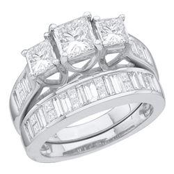 2.54 CTW Princess 3-Stone Diamond Bridal Engagement Ring 14KT White Gold - REF-524K9W