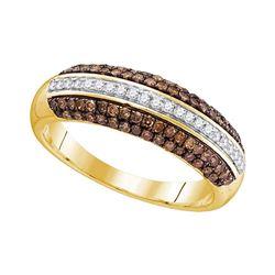 0.50 CTW Cognac-brown Color Diamond Horizontal Ring 10KT Yellow Gold - REF-30K2W