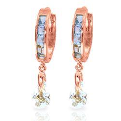 Genuine 2.95 ctw Aquamarine Earrings Jewelry 14KT Rose Gold - REF-56V9W