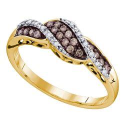 0.20 CTW Cognac-brown Color Diamond Ring 10KT Yellow Gold - REF-18H7M