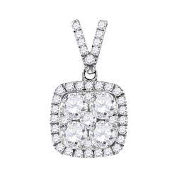 1.35 CTW Diamond Square Cluster Pendant 10KT White Gold - REF-209H9M
