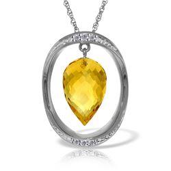 Genuine 9.6 ctw Citrine & Diamond Necklace Jewelry 14KT White Gold - REF-109T6A