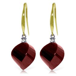 Genuine 30.6 ctw Ruby & Diamond Earrings Jewelry 14KT Yellow Gold - REF-51H9X