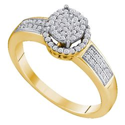 0.25 CTW Diamond Cluster Bridal Engagement Ring 10KT Yellow Gold - REF-22H4M