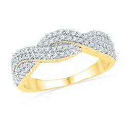 0.50 CTW Diamond Crossover Ring 10KT Yellow Gold - REF-32M9H