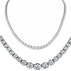 Natural 9.02CTW VS/I Diamond Tennis Necklace 18K White Gold - REF-782F8N