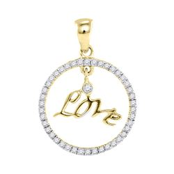 0.25 CTW Diamond Heart Pendant 10KT Yellow Gold - REF-14H9M
