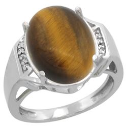 Natural 11.02 ctw Tiger-eye & Diamond Engagement Ring 14K White Gold - REF-52F3N