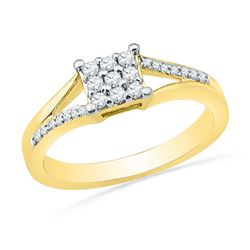 0.25 CTW Diamond Square Cluster Ring 10KT Yellow Gold - REF-28F4N