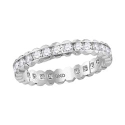 1 CTW Diamond Eternity Wedding Ring 14KT White Gold - REF-87H2M