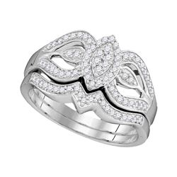 0.33 CTW Diamond Oval Cluster Bridal Engagement Ring 10KT White Gold - REF-41H9M