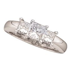 0.78 CTW Princess Diamond 3-stone Bridal Engagement Ring 14KT White Gold - REF-89K9W