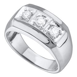 0.50 CTW Mens Diamond 3-stone Fashion Ring 10KT White Gold - REF-49X5Y