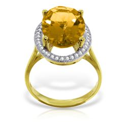 Genuine 5.28 ctw Citrine & Diamond Ring Jewelry 14KT Yellow Gold - REF-83H3X