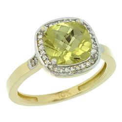 Natural 3.94 ctw Lemon-quartz & Diamond Engagement Ring 10K Yellow Gold - REF-27N9G