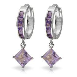 Genuine 3.8 ctw Amethyst Earrings Jewelry 14KT White Gold - REF-52P9H