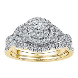 0.63 CTW Diamond Bridal Wedding Engagement Ring 14k Yellow Gold - REF-67F4N