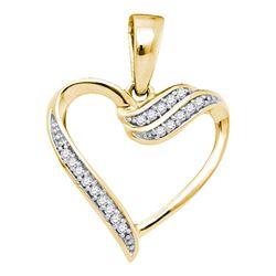 0.06 CTW Diamond Heart Love Pendant 10KT Yellow Gold - REF-8W9K