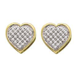 0.14 CTW Diamond Heart Earrings 10KT Yellow Gold - REF-18K2W