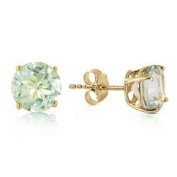 Genuine 3.1 ctw Green Amethyst Earrings Jewelry 14KT Yellow Gold - REF-23P9H