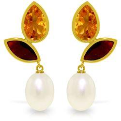 Genuine 16 ctw Pearl, Garnet & Citrine Earrings Jewelry 14KT Yellow Gold - REF-42Z2N