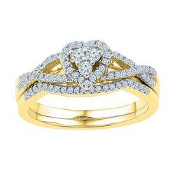 0.38 CTW Diamond Heart Bridal Engagement Ring 10KT Yellow Gold - REF-37N5F