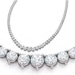Natural 7.21CTW VS/I Diamond Tennis Necklace 14K White Gold - REF-555H3M