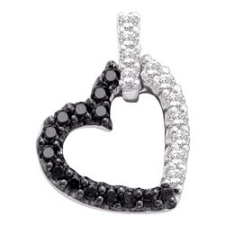 0.31 CTW Black Color Diamond Heart Love Pendant 14KT White Gold - REF-22K4W