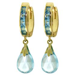 Genuine 6.85 ctw Blue Topaz Earrings Jewelry 14KT Yellow Gold - REF-49M6T