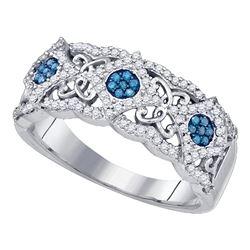 0.40 CTW Blue Color Diamond Cluster Filigree Ring 10KT White Gold - REF-31F4N