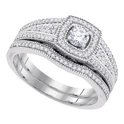 0.50 CTW Diamond Bridal Wedding Engagement Ring 10KT White Gold - REF-75W2K
