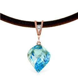 Genuine 13.91 ctw Blue Topaz & Diamond Necklace Jewelry 14KT Rose Gold - REF-58M5T