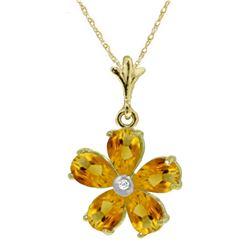 Genuine 2.22 ctw Citrine & Diamond Necklace Jewelry 14KT Yellow Gold - REF-30M2T