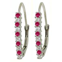 Genuine 0.35 ctw Ruby & Diamond Earrings Jewelry 14KT White Gold - REF-40N5R