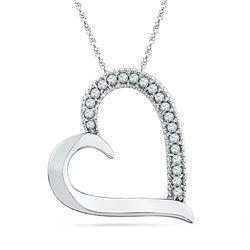 0.10 CTW Diamond Heart Outline Pendant 10KT White Gold - REF-10F5N