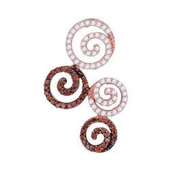 0.65 CTW Red Color Diamond Swirl Circle Pendant 10KT Rose Gold - REF-30F2N