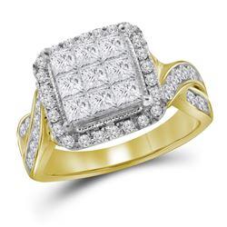 1.65 CTW Princess Diamond Cluster Bridal Engagement Ring 14KT Yellow Gold - REF-187M4H