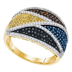 0.75 CTW Multicolor Diamond Fashion Ring 10KT Yellow Gold - REF-70H4M
