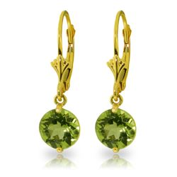Genuine 3.1 ctw Peridot Earrings Jewelry 14KT Yellow Gold - REF-34N5R