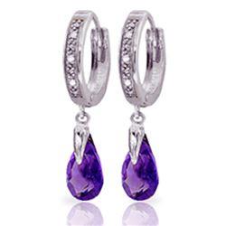 Genuine 2.53 ctw Amethyst & Diamond Earrings Jewelry 14KT White Gold - REF-58K2V