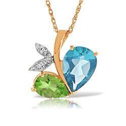 Genuine 5.26 ctw Blue Topaz, Peridot & Diamond Necklace Jewelry 14KT Rose Gold - REF-60P7H