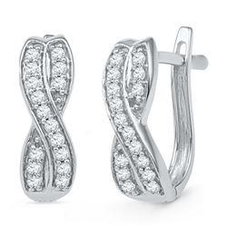 0.20 CTW Diamond Double Row Crossover Hoop Earrings 10KT White Gold - REF-19F4N