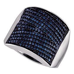 1.01 CTW Blue Color Diamond Cocktail Ring 10KT White Gold - REF-53K9W